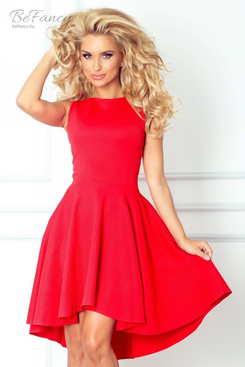 Ujjatlan aszimmetrikus koktélruha bő szoknyával ruha 66-12 piros