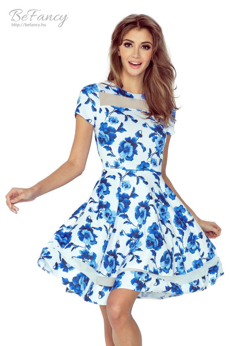 Rövid ujjú ruha tüll betétekkel MM 003-3 fehér kék virágmintás ... 95395968c9
