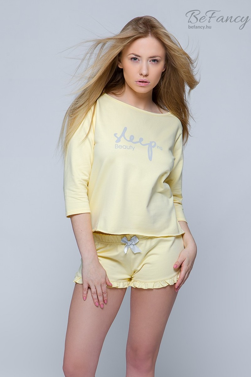 Hosszú ujjú pamut pizsama rövidnadrággal Sleep sárga