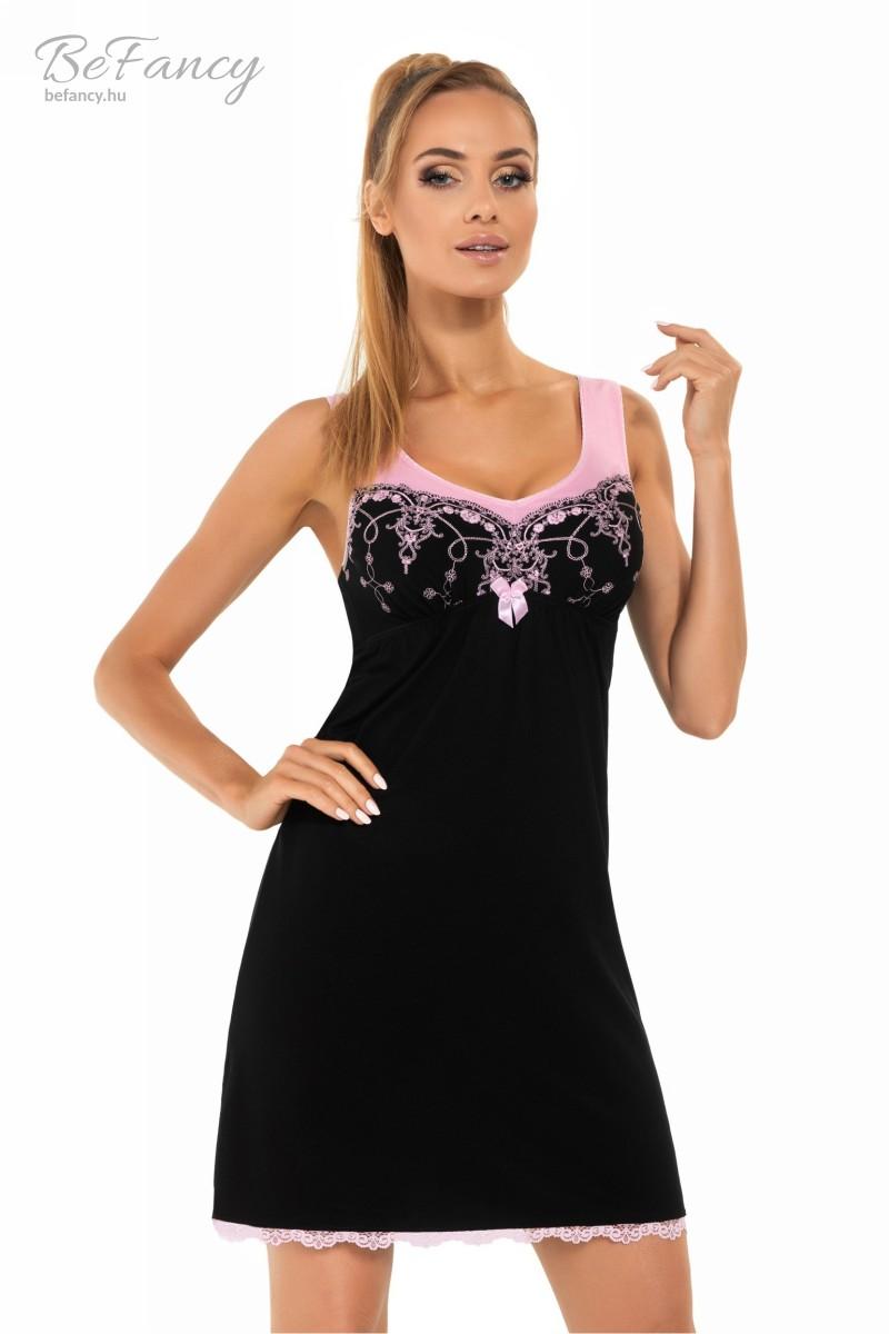 Csipkés ujjatlan hálóing Model Karina fekete rózsaszín  06aa559e4c