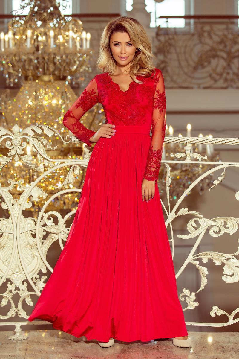 Csipkés hosszú ujjú ruha Arati 213-3 piros  a4988c335a