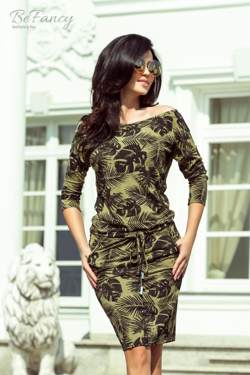 20e12ee36b Sportos, háromnegyedes ujjú ruha szűk szoknyával, derekán megkötővel 13-85  khaki levelek