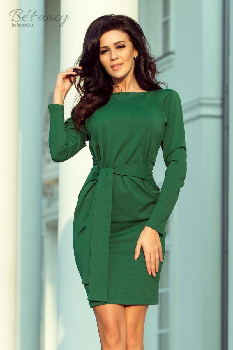 8642267413 Térdig érő hosszú ujjú ruha derekán széles övvel 209-2 zöld | Numoco ...