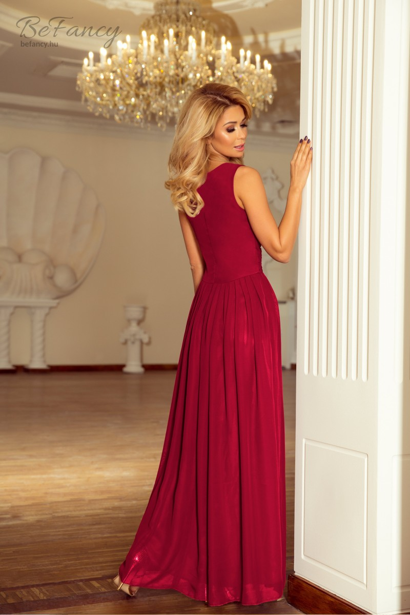 4368907588 Ujjatlan hosszú szifon estélyi ruha hasítékkal 166-6 szilva   Numoco    Befancy webáruház