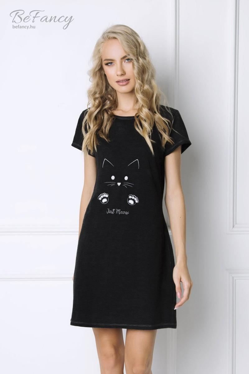 Rövid ujjú pamut hálóing macska mintával Catwoman fekete  08b1406f61