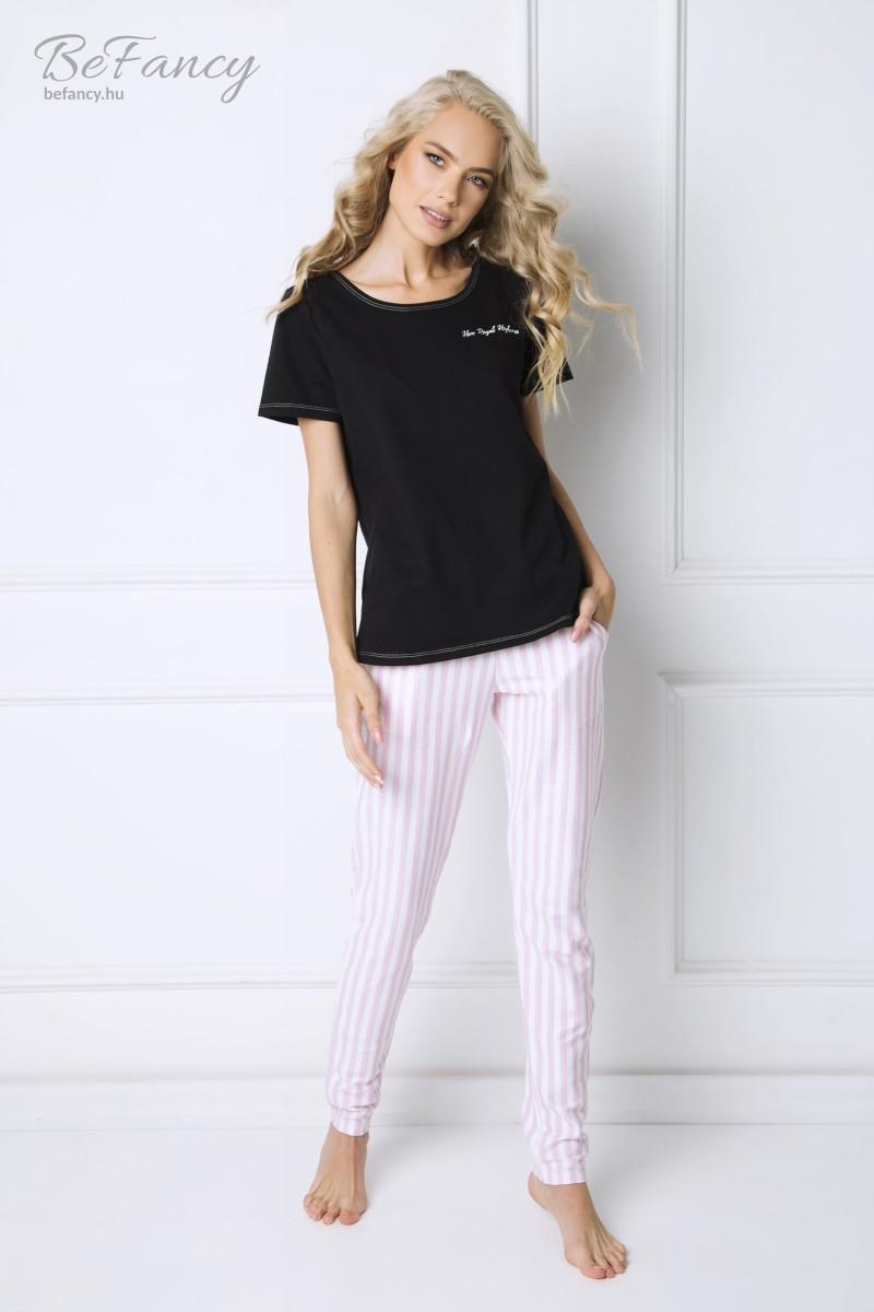 Pamut pizsama rövidujjú felsővel, csíkos hosszúnadrággal Royal fekete/fehér/rózsaszín