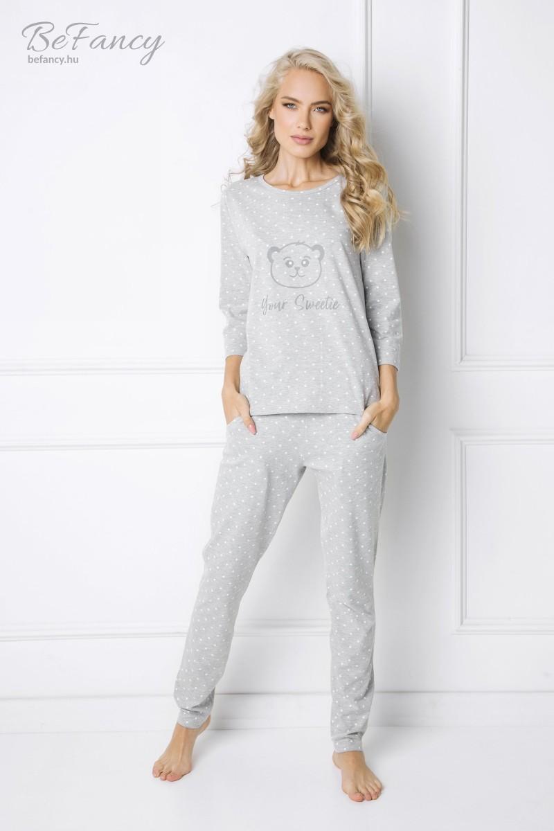 Pöttyös hosszú ujjú pamut pizsama hosszú nadrággal, az elején mackóval Sweet Bear szürke/fehér pöttyös macis