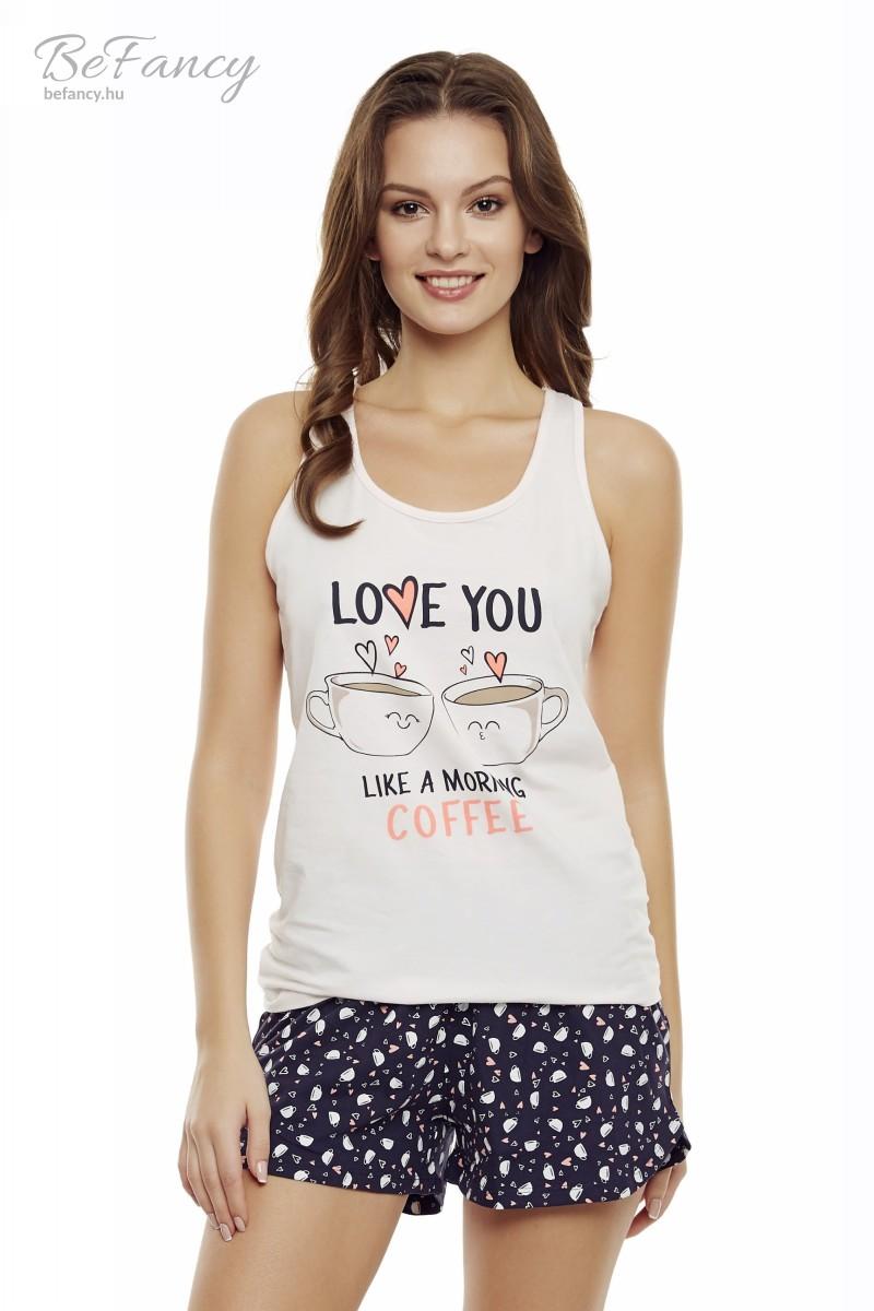 Ujjatlan pizsama rövidnadrággal kávéscsészékkel díszítve Danni 35831-03X rózsaszín/tengerészkék