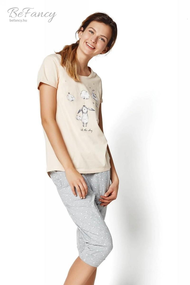 Rövid ujjú pizsama nyuszi mintával háromnegyedes nadrággal Rakel 35255-03X halvány rózsaszín