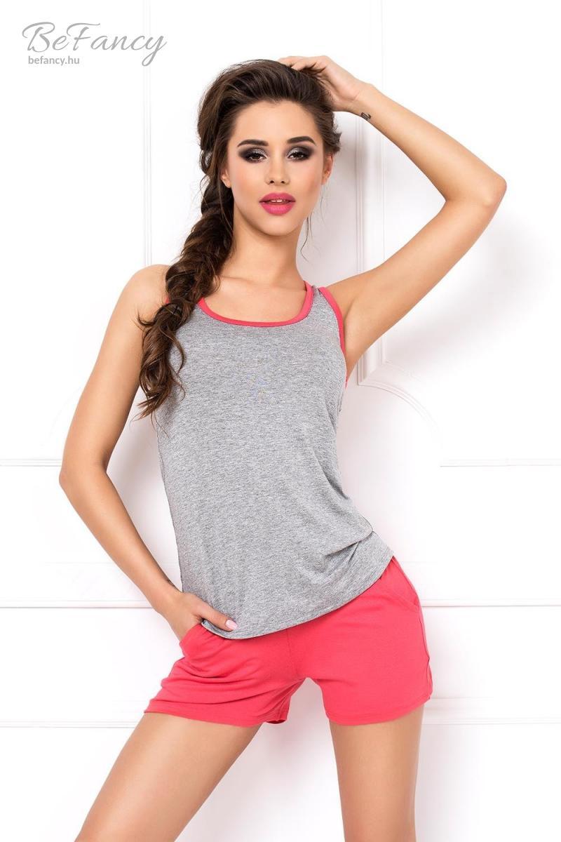 Ujjatlan pizsama rövidnadrággal Betina szürke/rózsaszín