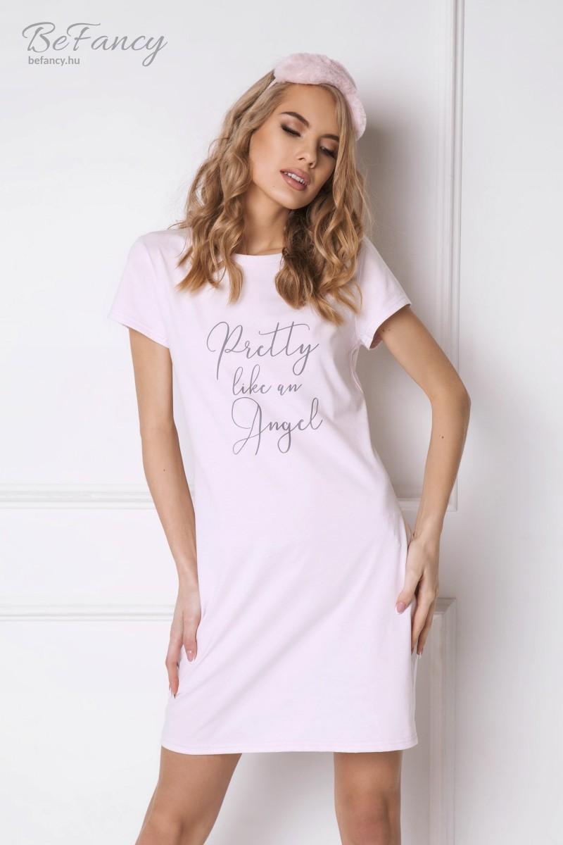 Rövid ujjú pamut pizsama az elején felirattal Pretty Angel rózsaszín ... cb50a97429