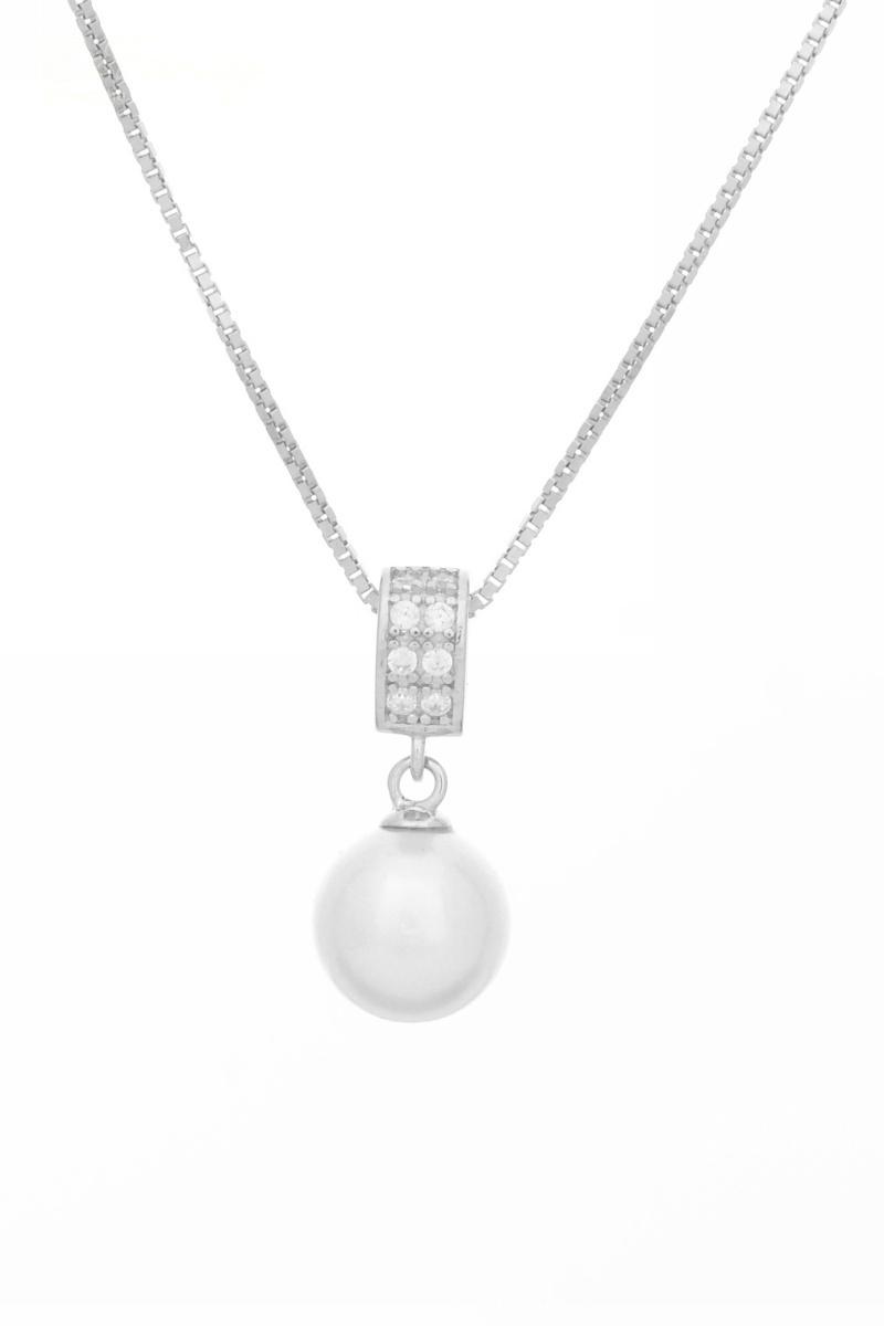 Sterling ezüst nyaklánc gyöngy medállal  466a9f7f46