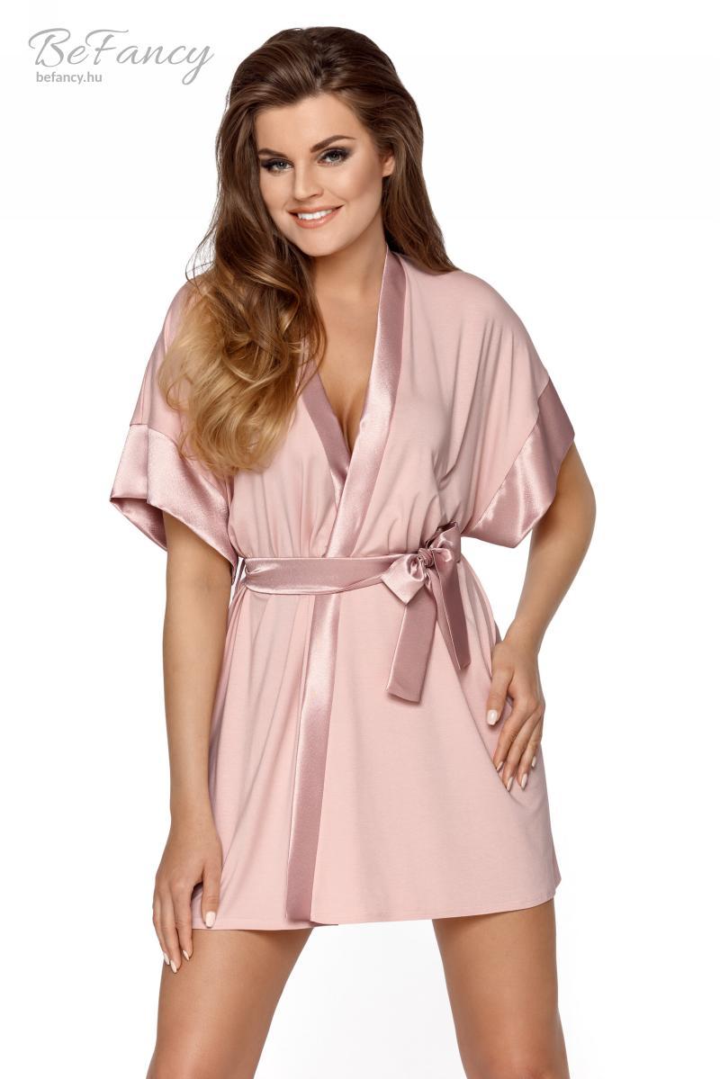 Kimonó szabású rövid ujjú köntös szatén szegéllyel Sabrina púder rózsaszín