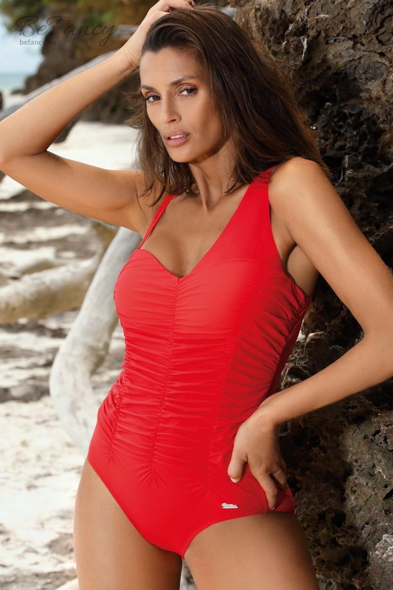Aszimmetrikus, levehető pántos, elején húzott egyrészes fürdőruha Gabrielle Carnaby M-543 piros