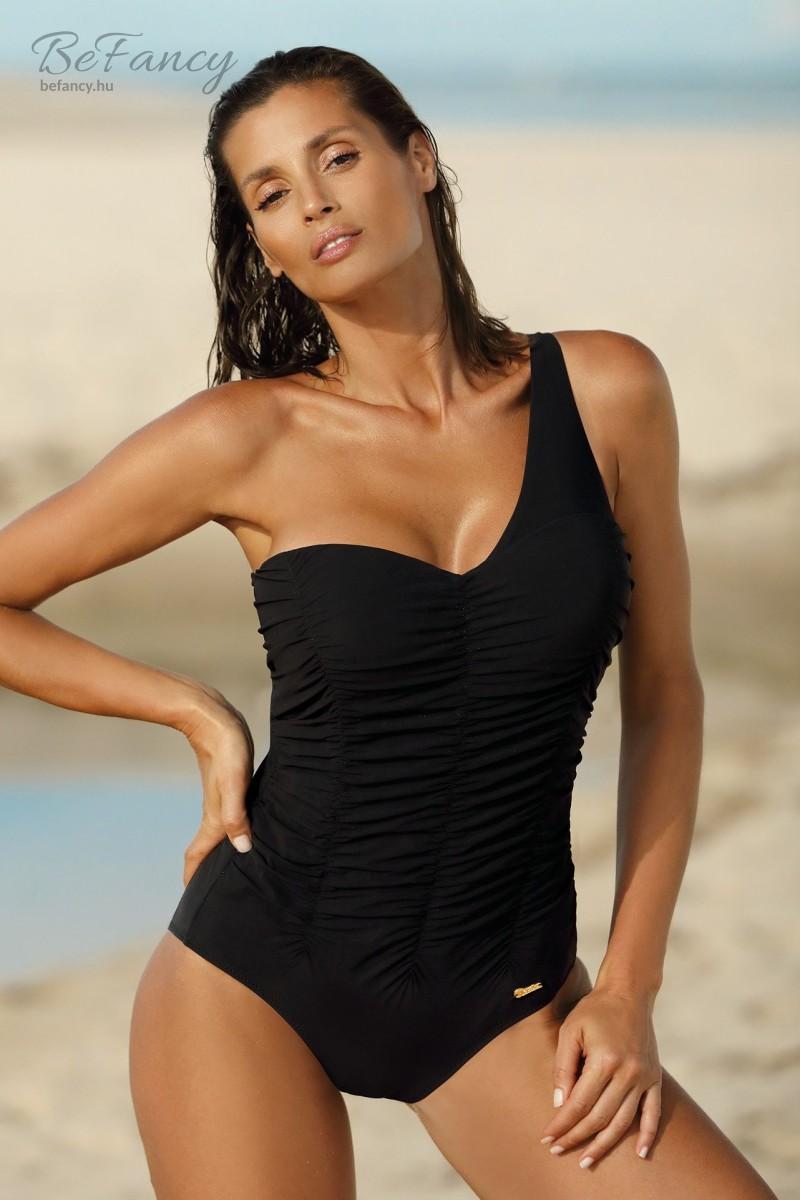 Aszimmetrikus, levehető pántos, elején húzott egyrészes fürdőruha Gabrielle Nero M-543 fekete