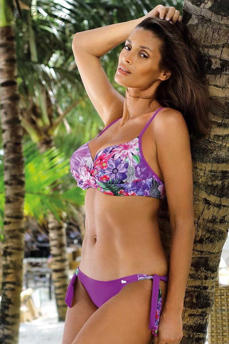 Csavart hatású virágmintás push up bikini Kimberly Shock Purple M-521 lila