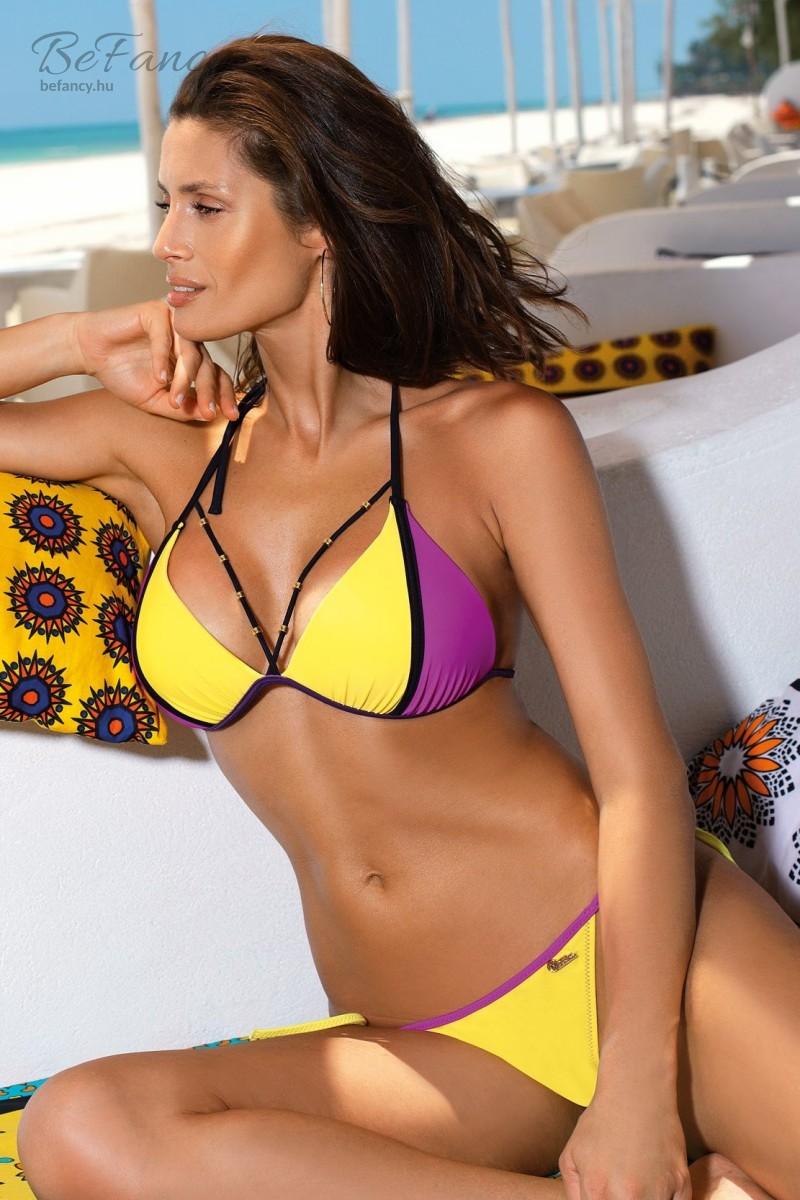 Nyakbakötős push up háromszög bikini Lara Banana-Very Fuchsia M-511 sárga