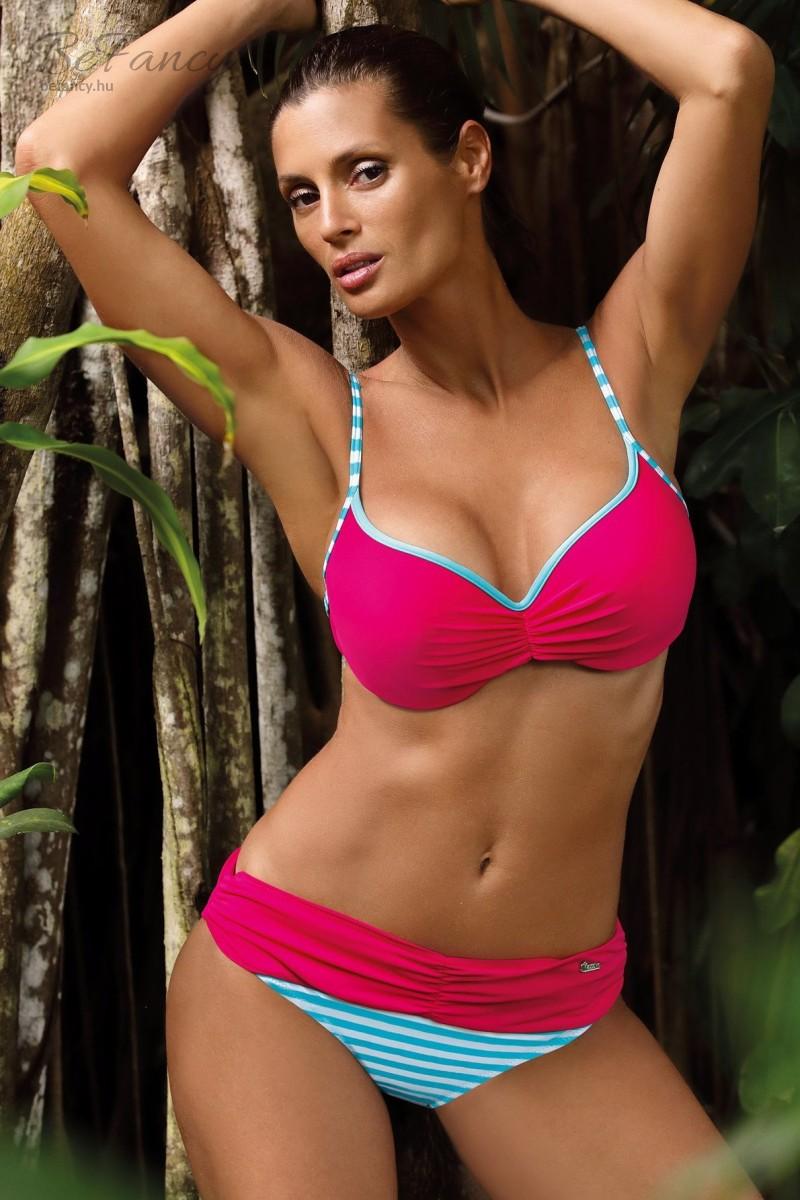 Középen húzott push-up bikini csíkos brazil alsóval Loren Paski-Fresia M-503 frézia
