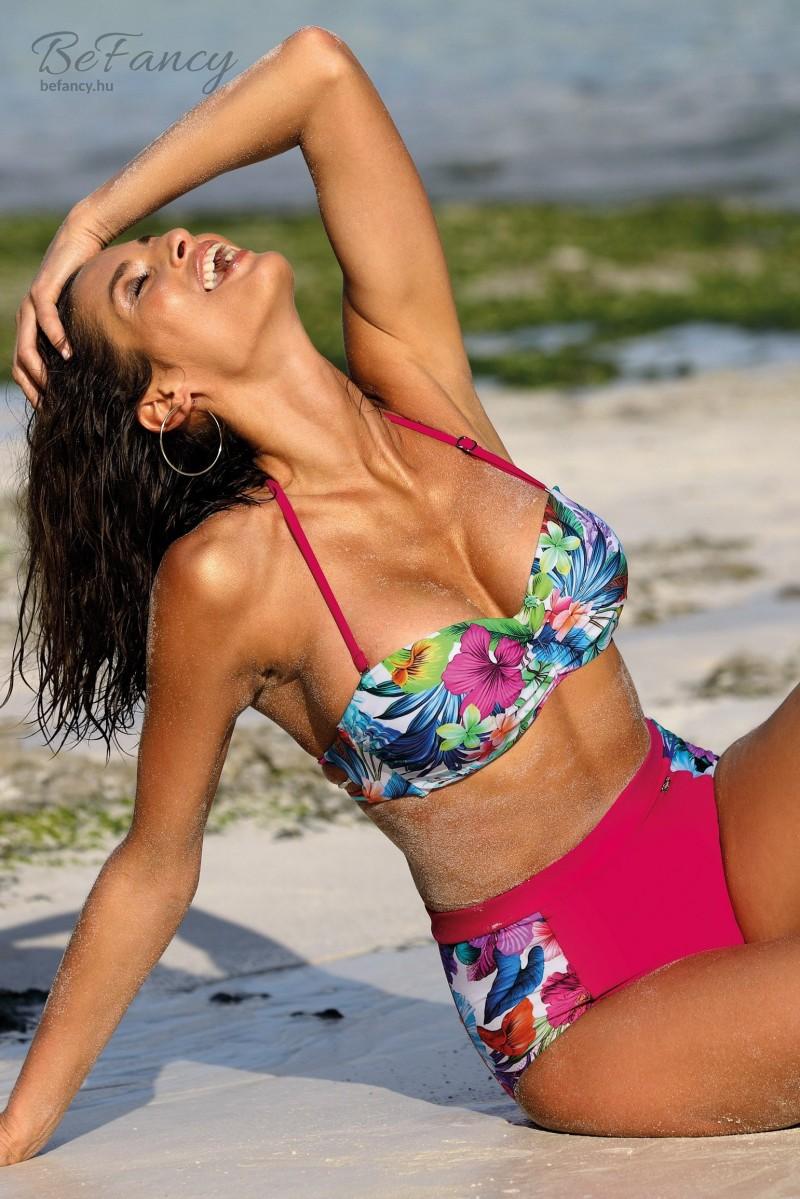 Nyakbakötős levehető pántos (bandeau) bikini magas derekú alsóval Madison Magenta M-537 magenta