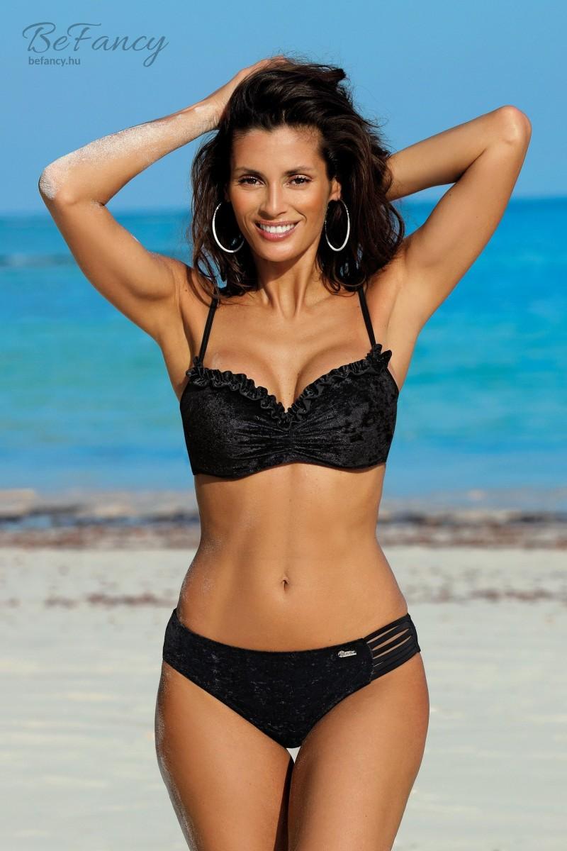 Velúr hatású, fodros, extra push up bikini Sylvia Nero M-549 fekete