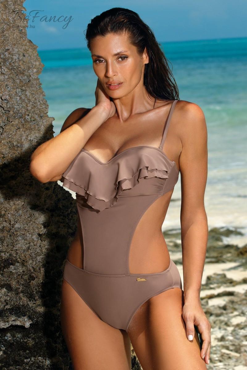 Dupla fodros levehető pántos (bandeau) trikini Belinda Tripoli M-548 kapucsínó