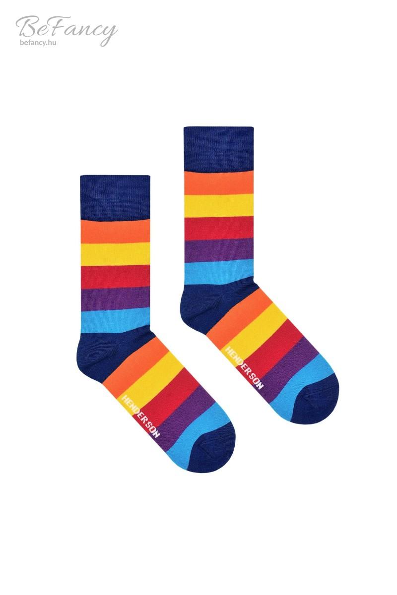 Színes, csíkos férfi zokni 36464 narancs/kék