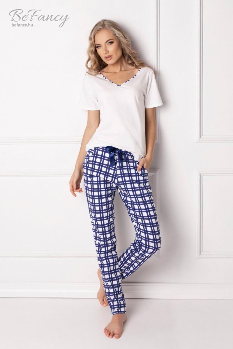 Hosszú kockás pamut pizsama Blumy kék