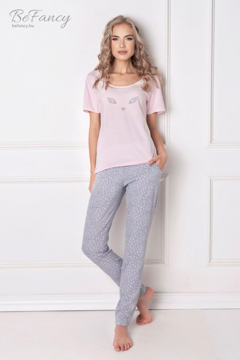 Hosszú pamut pizsama macskaszemekkel Wild Look rózsaszín