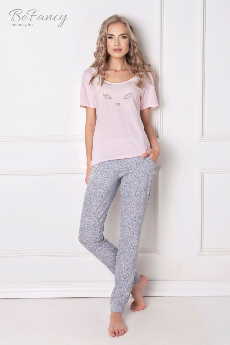 Rövid ujjú pamut pizsama macskaszemekkel hosszú nadrággal Wild Look rózsaszín