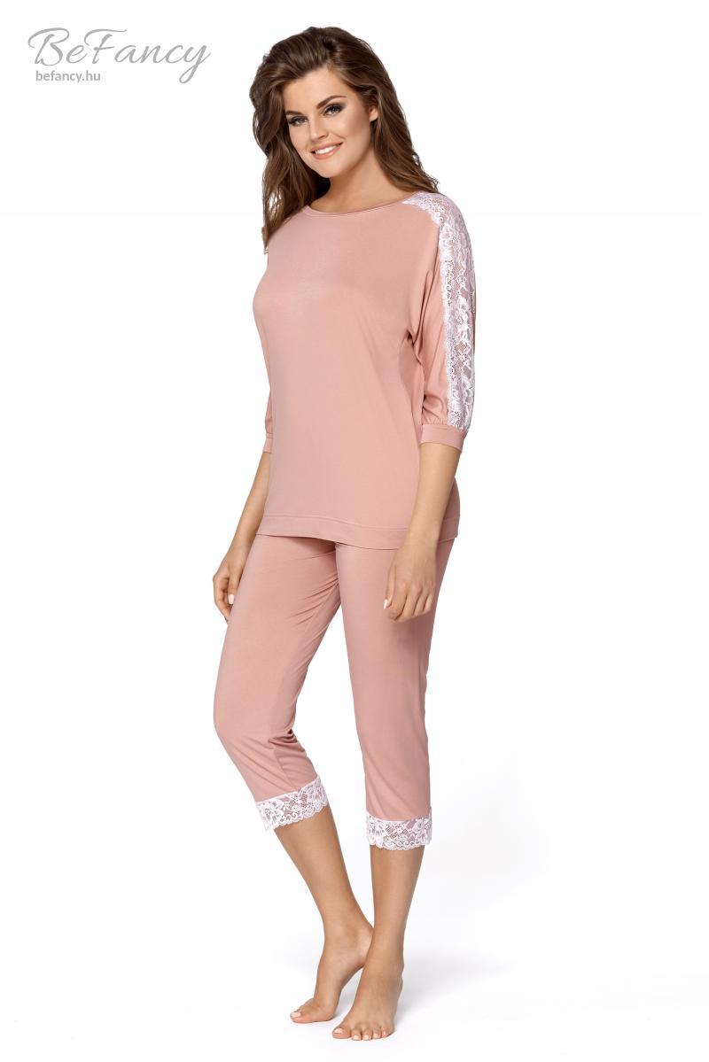 Háromnegyedes pizsama az ujján csipkével Toscana fahéj