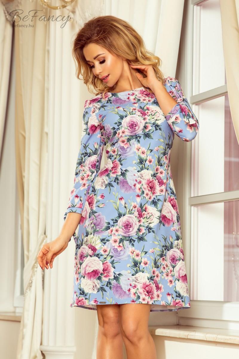 2748a90f30 Elegáns ruha derekán és ujján masnival Alice 195-9 égkék virágos ...