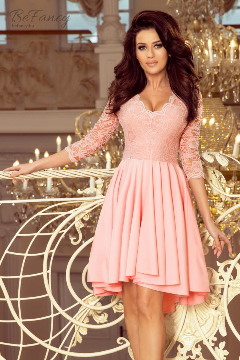 01aeb562a1 Felül csipkés, háromnegyedes ujjú koktélruha aszimmetrikus bő szoknyával  Nicolle 210-7 pasztell rózsaszín