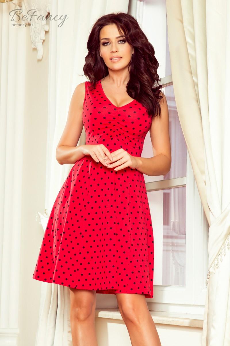 2ed61c30ce Elején húzott ujjatlan ruha bő szoknyával Betty 238-1 piros pöttyös ...