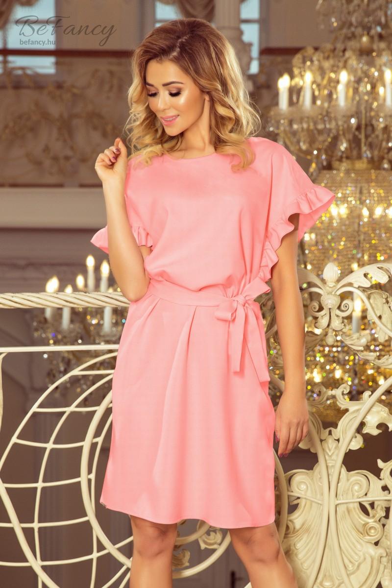 ba0488baee Fodros ujjú, bő fazonú ruha derekán megkötővel Rose 229-1 pasztell rózsaszín