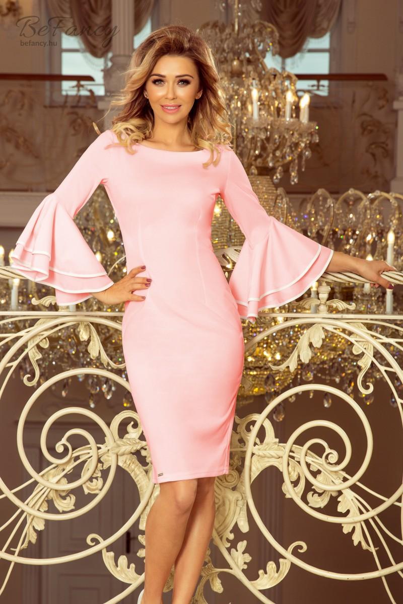 Fodros ujjú karcsúsított fazonú koktélruha Carmen 188-4 pasztell rózsaszín