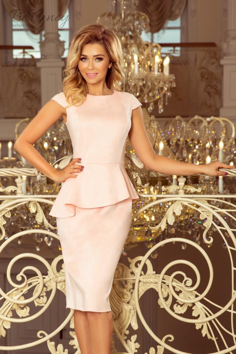 cf9e97fbac Elegáns rövid ujjú karcsúsító hatású, derekán fodros ruha térdig érő szűk  szoknyával 192-8 pasztell rózsaszín