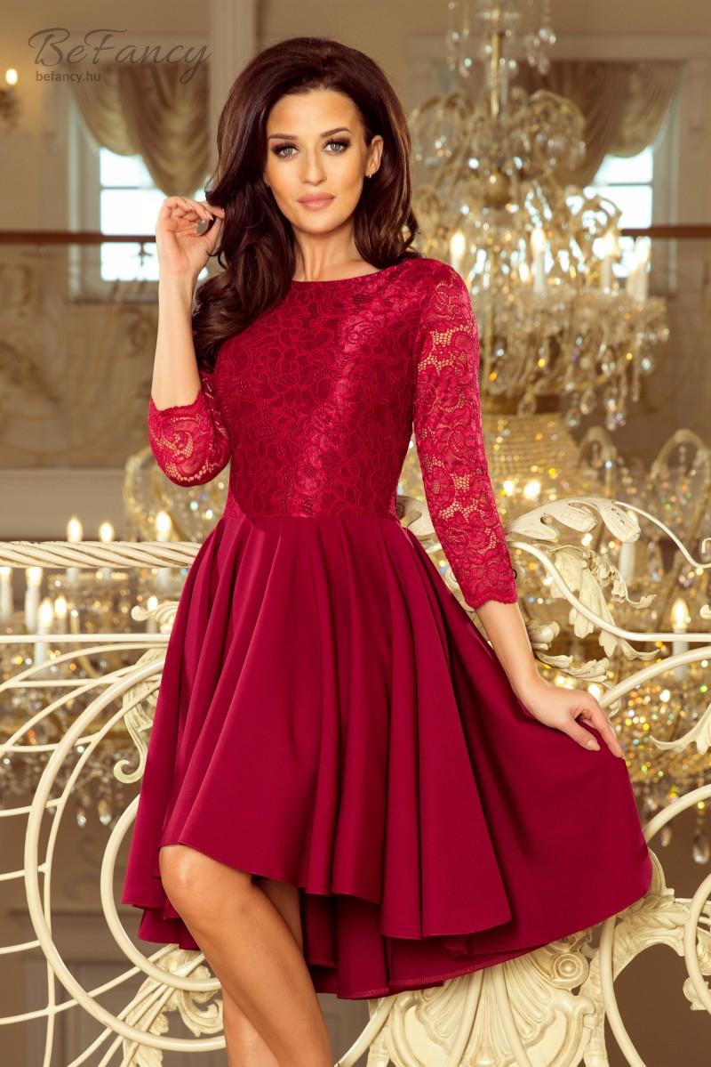 Felül csipkés háromnegyedes ujjú ruha aszimmetrikus bő szoknyával Olivia 231-1 bordó