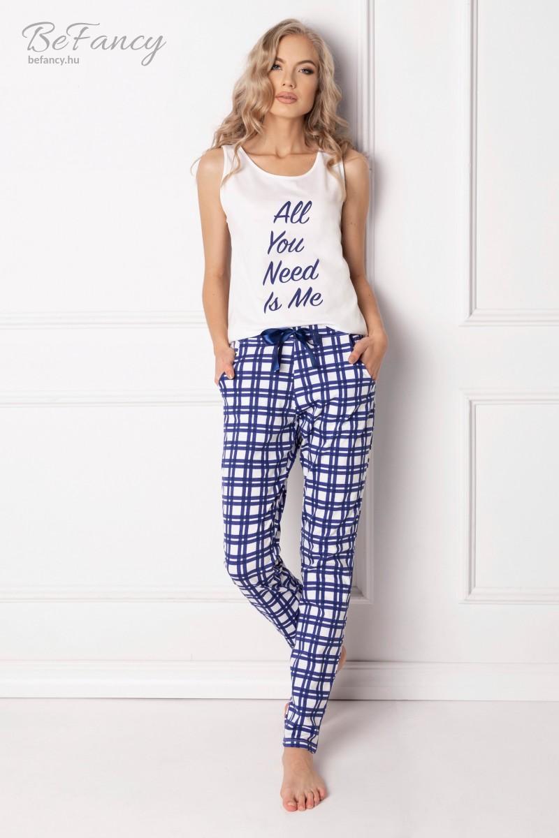 Ujjatlan pamut pizsama kockás hosszú nadrággal Need Me Long kék/fehér