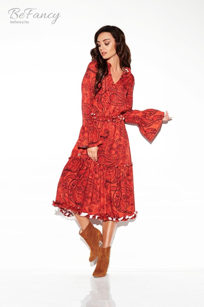 Hosszú ujjú fodros őszi ruha LG508 piros mintás