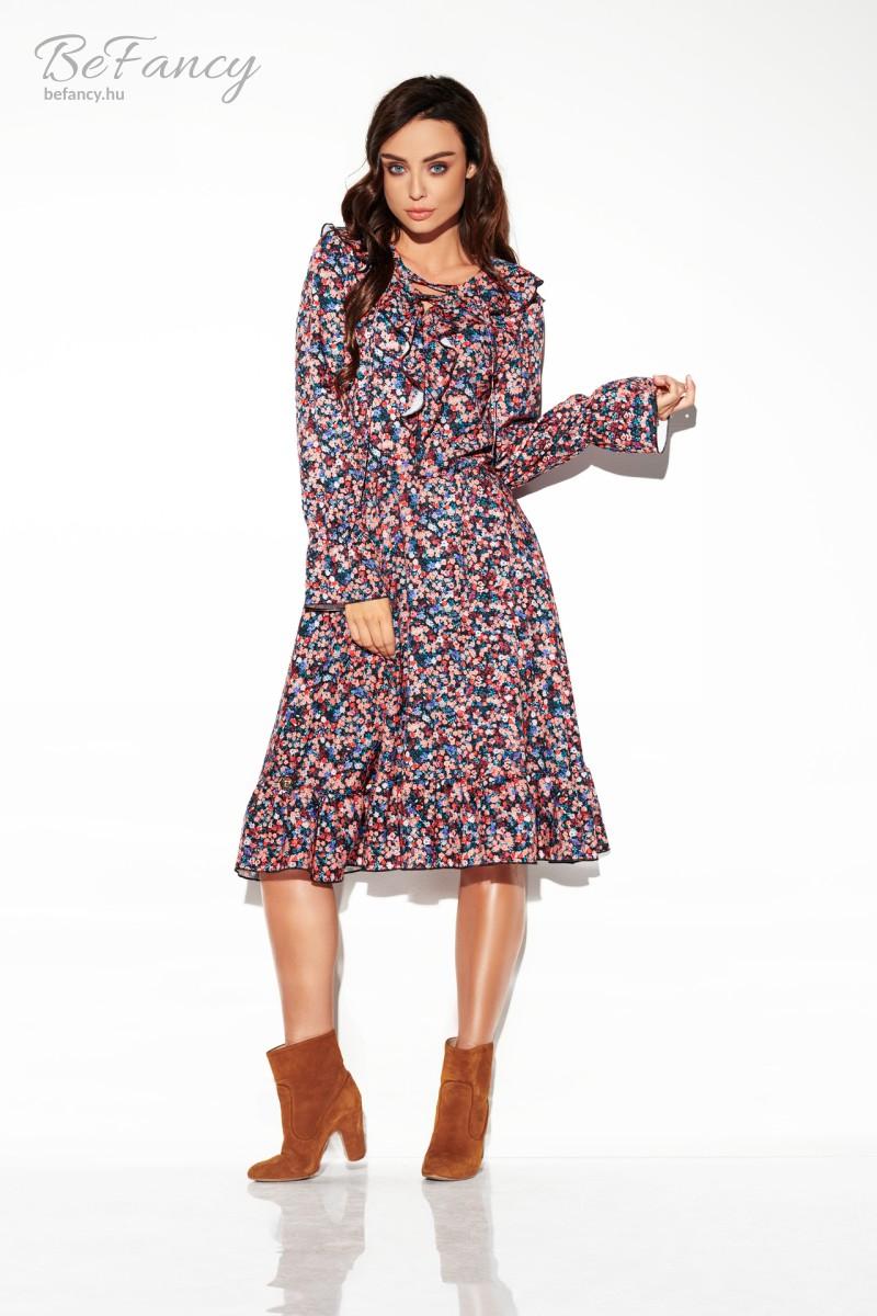 Fodros hosszú ujjú átmeneti ruha térdig érő bő szoknyával LG505 apró virágos