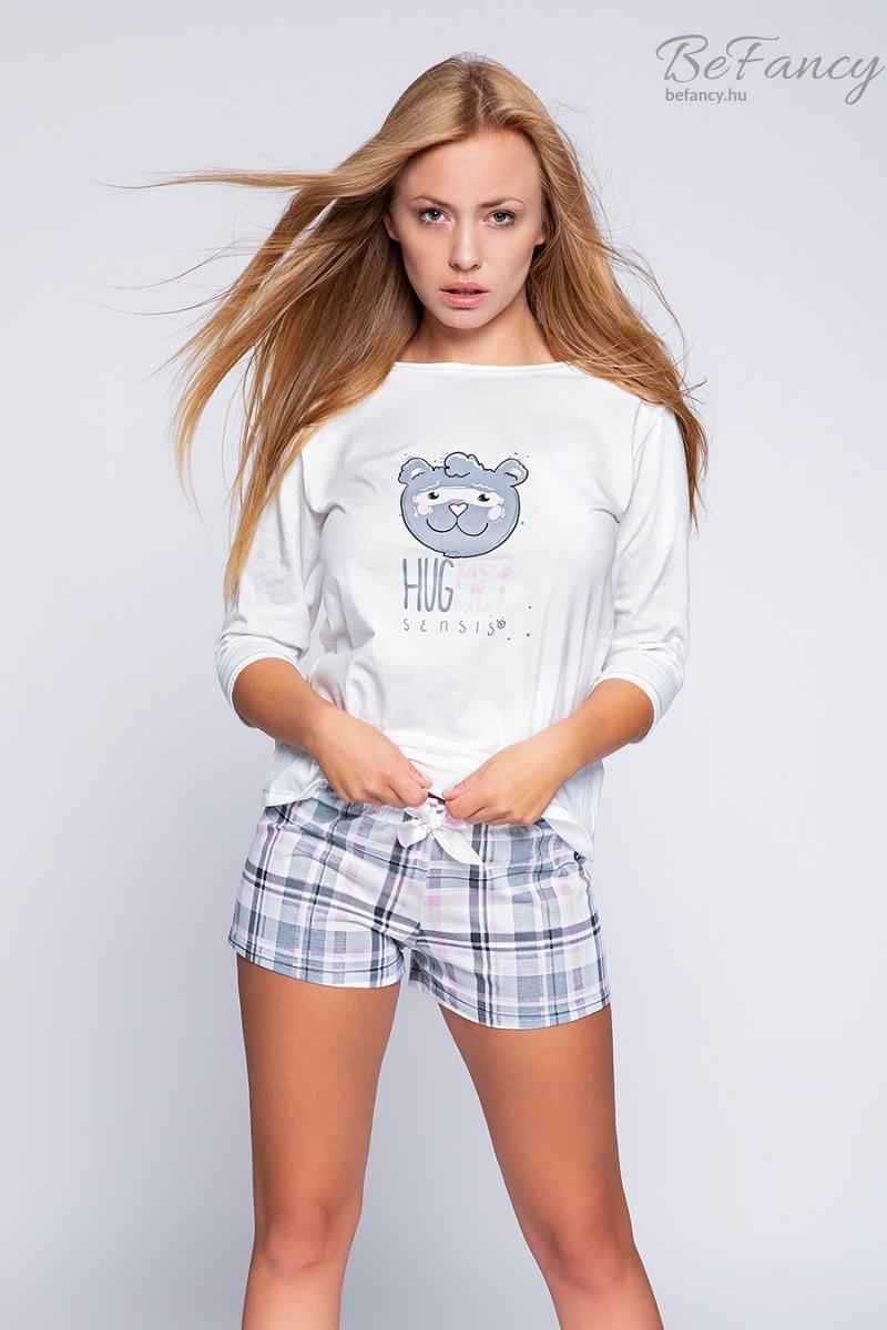 Háromnegyedes ujjú pamut pizsama édes mackó mintával, kockás rövidnadrággal Hug Me fehér/rózsaszín