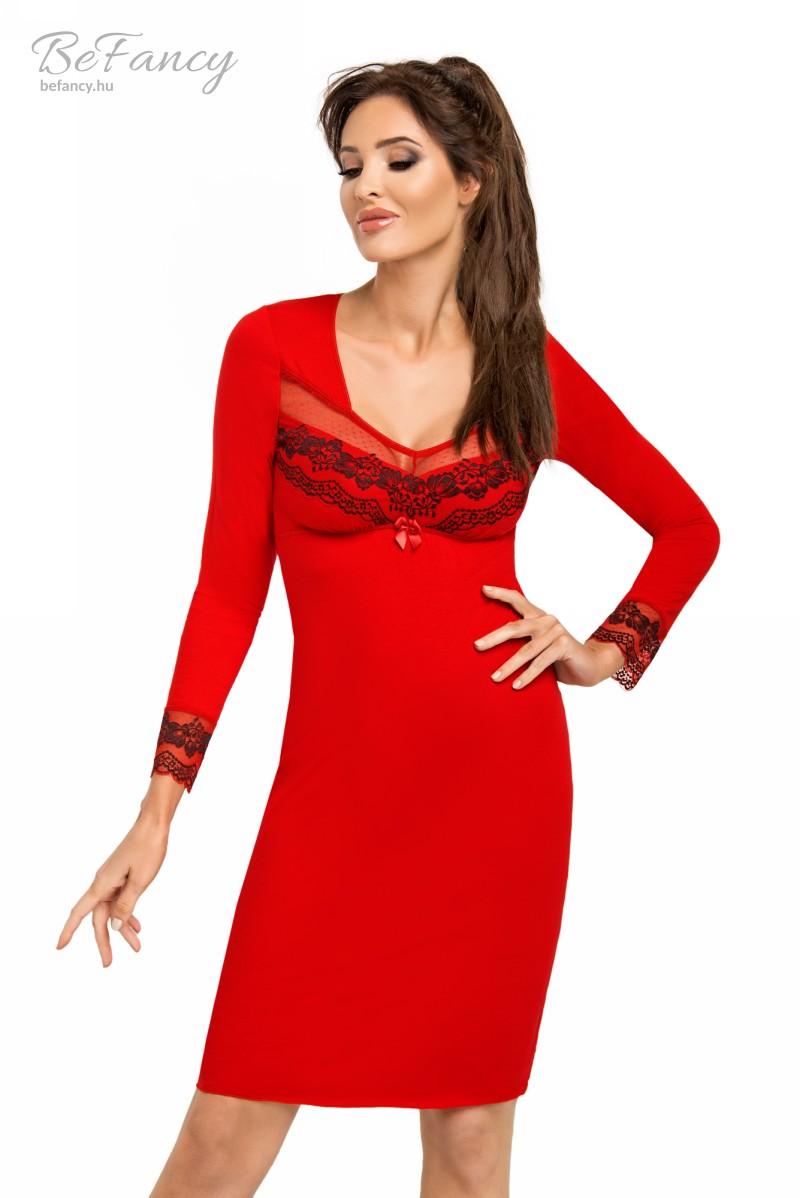 Hosszú ujjú hálóing hímzett tüllel Jasmine II piros