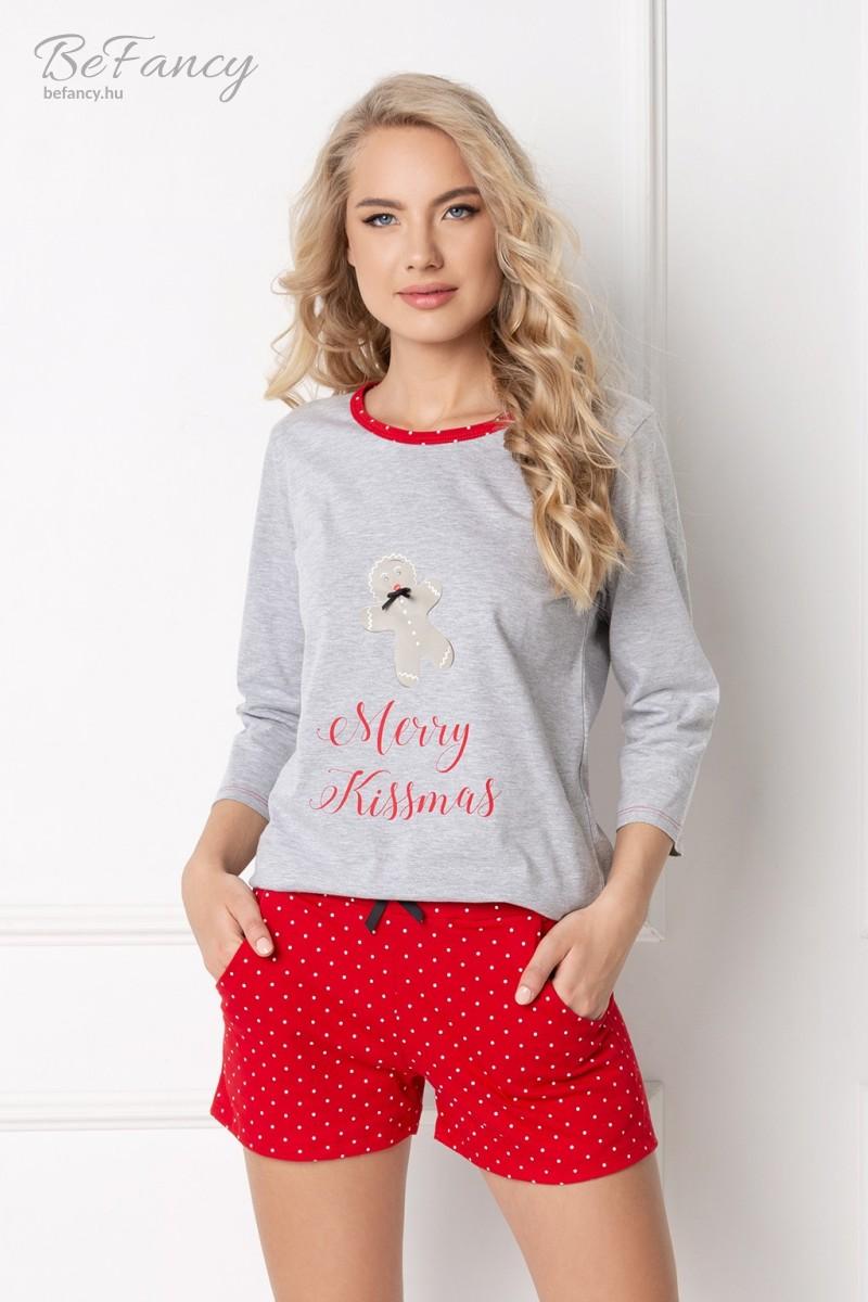 Süti mintás háromnegyedes ujjú pamut pizsama pöttyös rövidnadrággal Cookie Short szürke/piros
