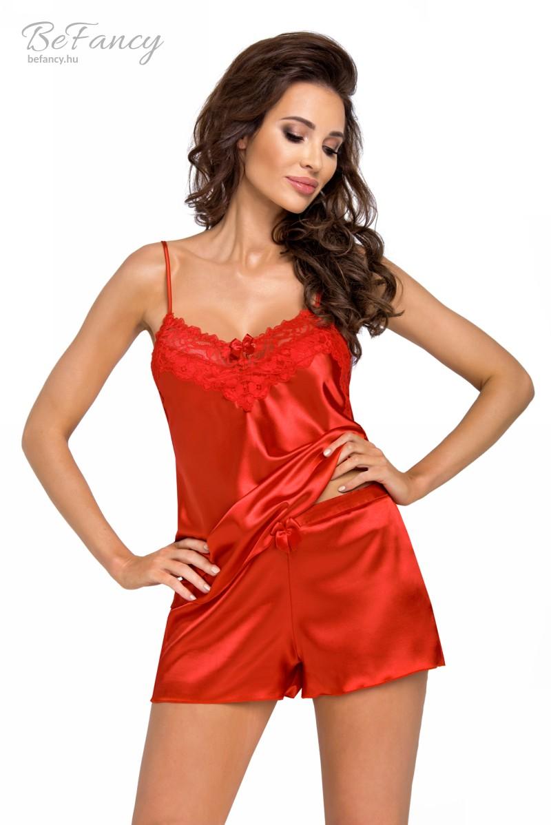 Spagetti pántos felül körben csipkés szatén pizsama rövidnadrággal Eva 1/2 piros
