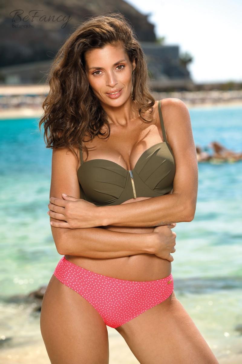 Extra push-up bandeau bikini brazil fazonú pöttyös alsóval Aurora Kaki M-576 khaki/rózsaszín