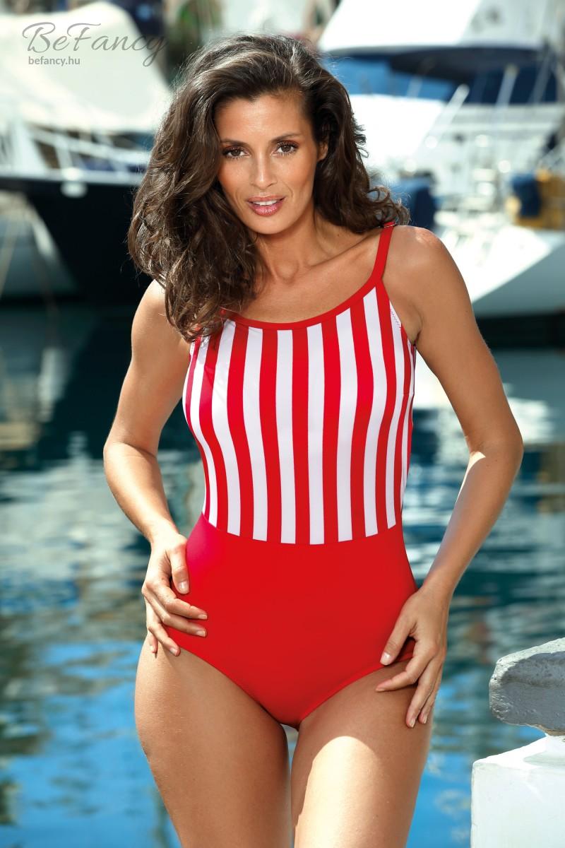 Sportos fazonú hátul is magasan szabott egyrészes fürdőruha Caroline Venere M-624 piros csíkos