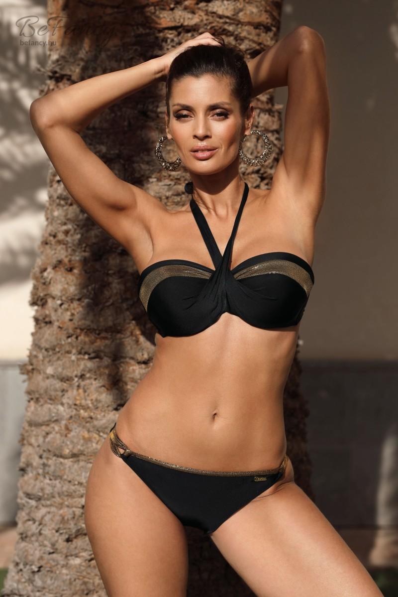 Nőies merevítős push-up bikini különleges nyakbakötővel, fényes aranyszínű díszítéssel, klasszikus alsóval Darcy Nero M-595 fekete