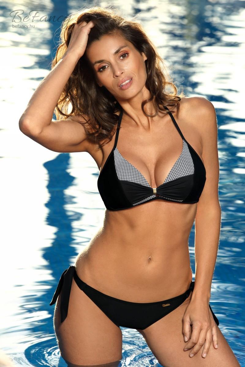 Elegáns nyakbakötős oldalt merevítős bikini egzotikus mintával, klasszikus vágású megkötős alsóval Kira Nero-Bianco M-588 fekete/fehér mintás