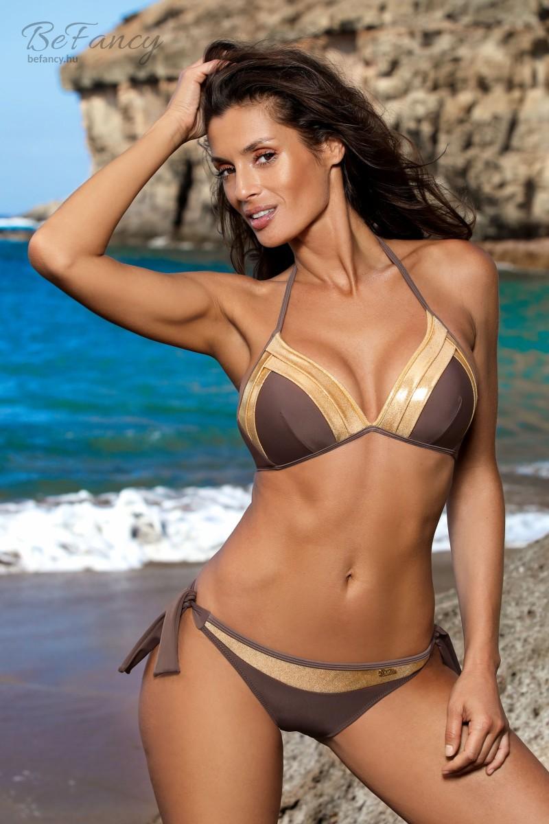 Elegáns és szexis arany színű textillel kombinált push-up háromszög bikini klasszikus fazonú megkötős alsóval Marietta Cubano M-628 barna