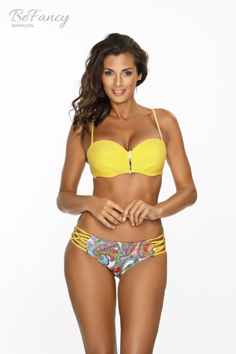 Extra push-up balconette fazonú levehető pántos bikini klasszikus, mintás alsóval Aurelia Yellow M-558 citromsárga virágmintás